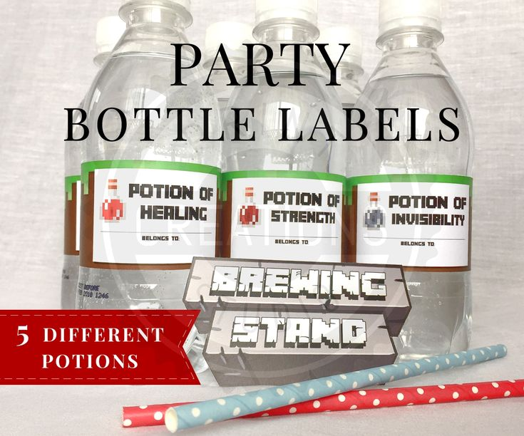 Printable Minecraft Bottle Labels perfect for Minecraft Birthday Parties. These Minecraft Bottle Labels have 6 different potions including Healing, Strength, Leaping, Swiftness, Invisibility and Luck.