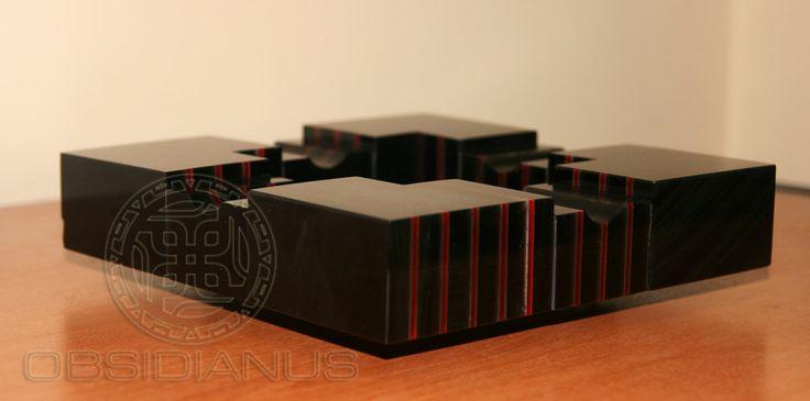 Cigar Ashtray  Hand Made / Semiprecious Natural Obsidian Stone / Black Color & Red Natural Glass