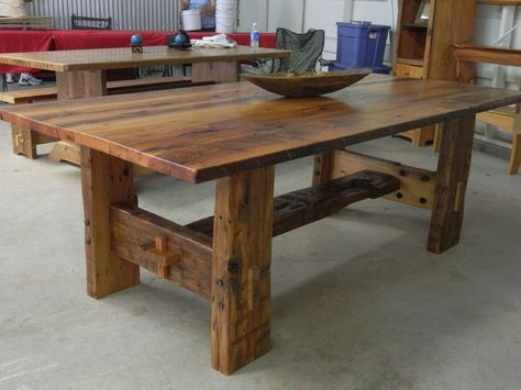 This hand hewn white oak trestle table is loaded with character and rustic charm.