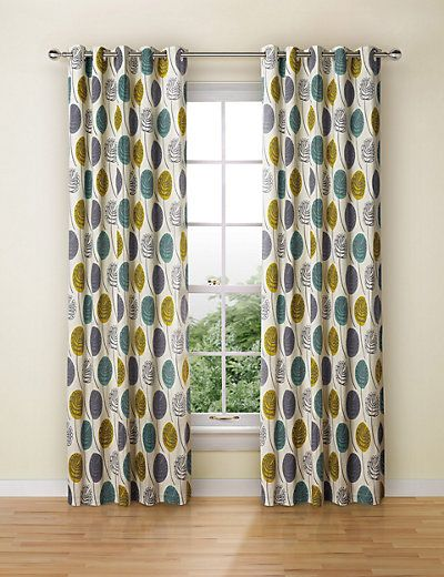 Contemporary Leaf Eyelet Curtains Home Living Room