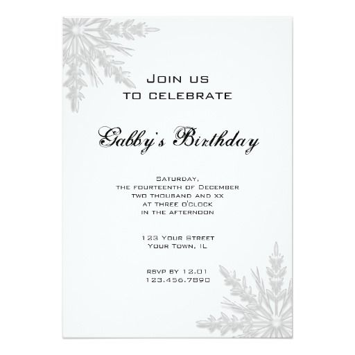 Best Snow White Birthday Invitations Images On Pinterest - Snowflake party invitation template
