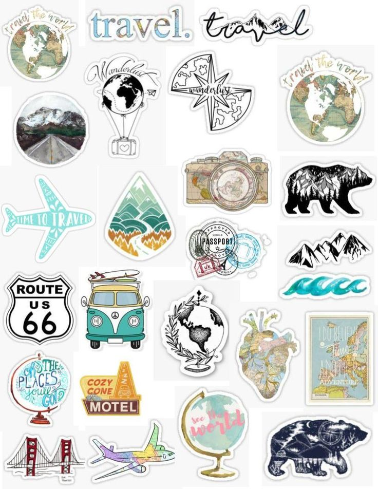 Aesthetic travel sticker pack, stickers, blue, vintage ...