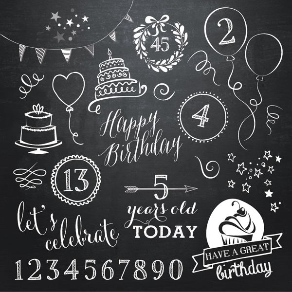 Birthday Doodle Chalkboard Overlays