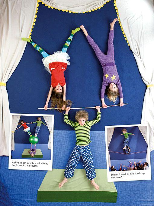 Idée photo avec des enfants sur le thème du cirque.
