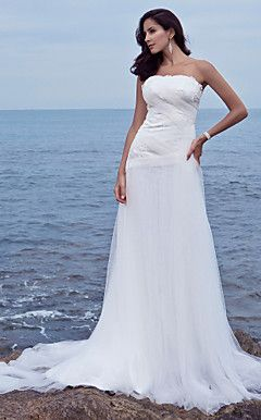 Sheath/Column Strapless Chapel Train Tulle Wedding Dress  – USD $ 179.99