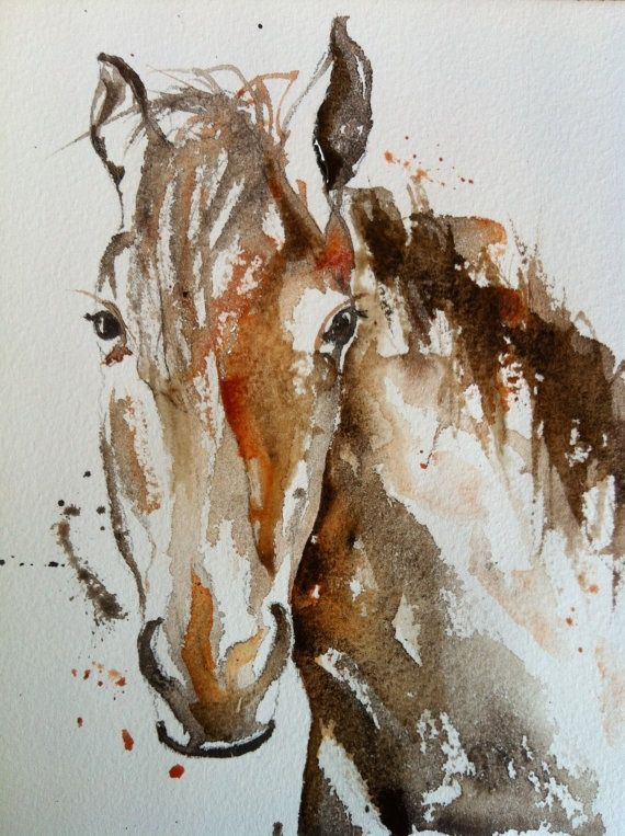 Watercolor Paintings of Horses | Watercolor painting of a horse - A4 sized print | Art