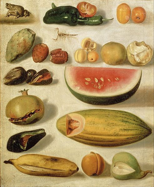HERMENEGILDO BUSTOS, Still Life with Fruit (with Scorpion and Frog)