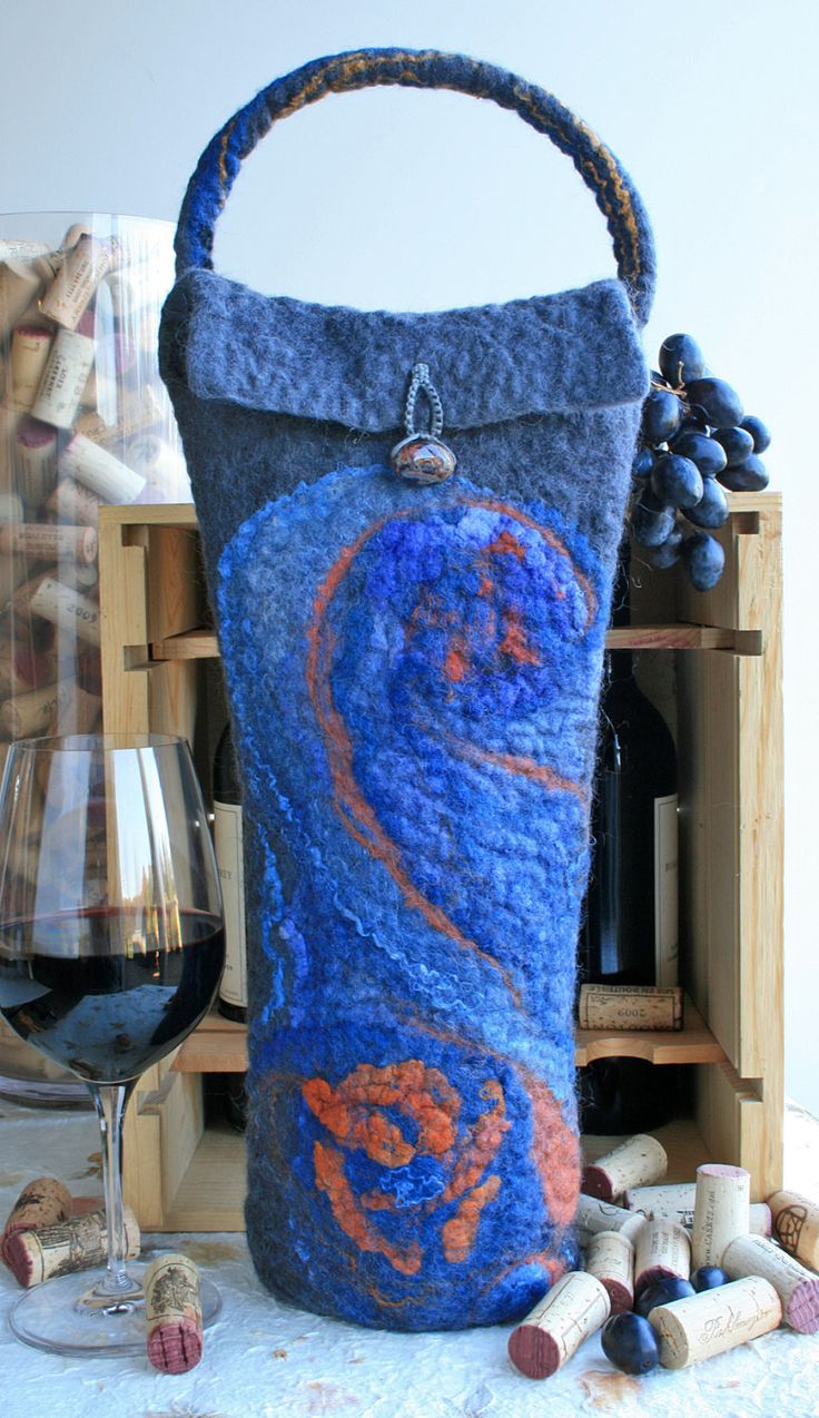 Grey and Blue Swirl hand Felted Wine Tote, Felt Wine Gift Bag, BYOB tote, Gift for Wine Lovers, Grey Blue Orange Wet Felted Tote by SilkWoolenWear on Etsy