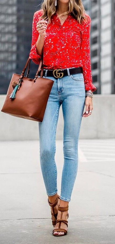 cute outfit idea shirt + bag + heels + skinnies