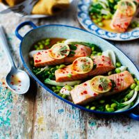 Waitrose steam baked salmon teriyaki; gets 4 star but some commentators say a bit lacking in flavour (all the low salt stuff) so suggests adding garlic, ginger, Chinese five spice, and / or more soy, more lemon or lime, and cooking less time or wok cooking. But gluten and dairy free