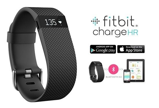 Fitbit Charge HR Wireless Activity and Sleep Tracking Wristband with Built-In Heart Rate Monitor & Free Apps for iOS or Android - Large