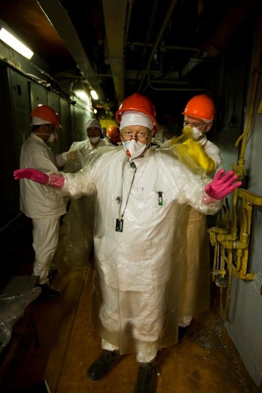 Gerd Ludwig is suited up as he prepares to enter the radioactive reactor #4.   Chernobyl Nuclear Power Plant, 2005.