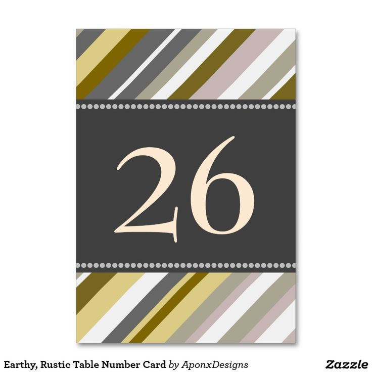 Earthy, Rustic Table Number Card