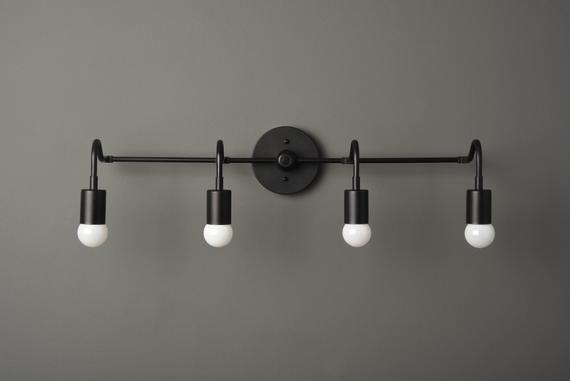 Black Modern Light 4 Light Vanity Fixture Mid Century Etsy Industrial Wall Lights Bathroom Wall Lights Industrial Bathroom Vanity