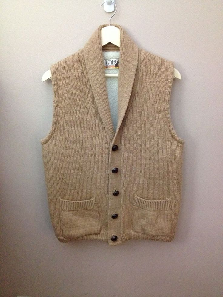 Vintage Mens Wool Sweater Vest Lobo by Pendleton- Heavy Weight Tan WARM Large