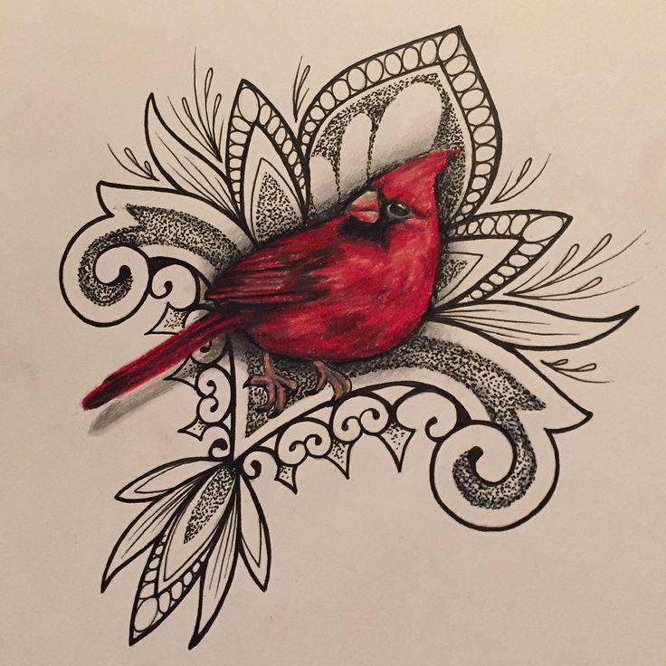 Tattoo flash design by Coppertop Arts (Whitney Thompson). Cardinal bird and mandala design