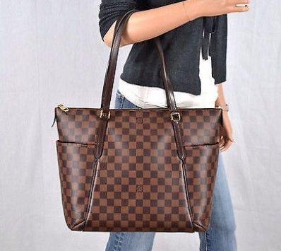 2310467cf0bd Louis Vuitton Totally Mm Damier Ebene Leather Tote Shoulder Bag Handbag  Purse