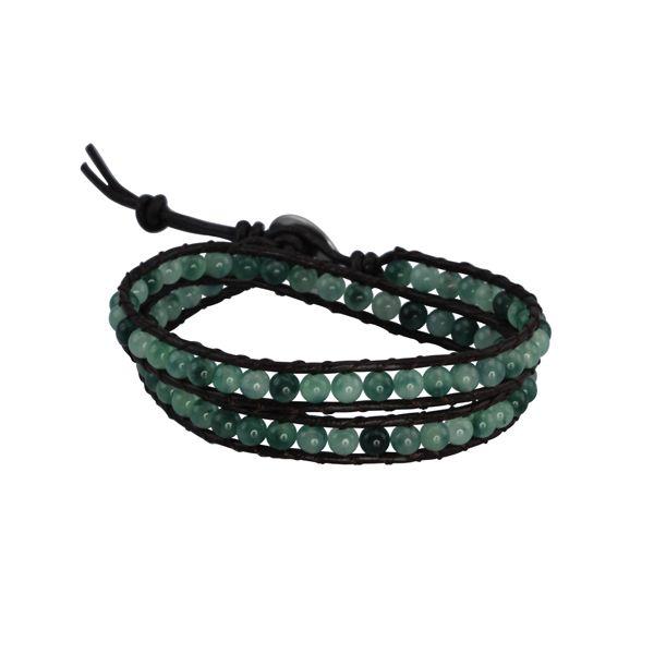Tibet Bracelet - Brown Leather and Jade Beads - http://lily316.com.au/shop/bracelets-ladies-vintage/tibet-jade-bead-and-brown-leather-wrap-bracelet/