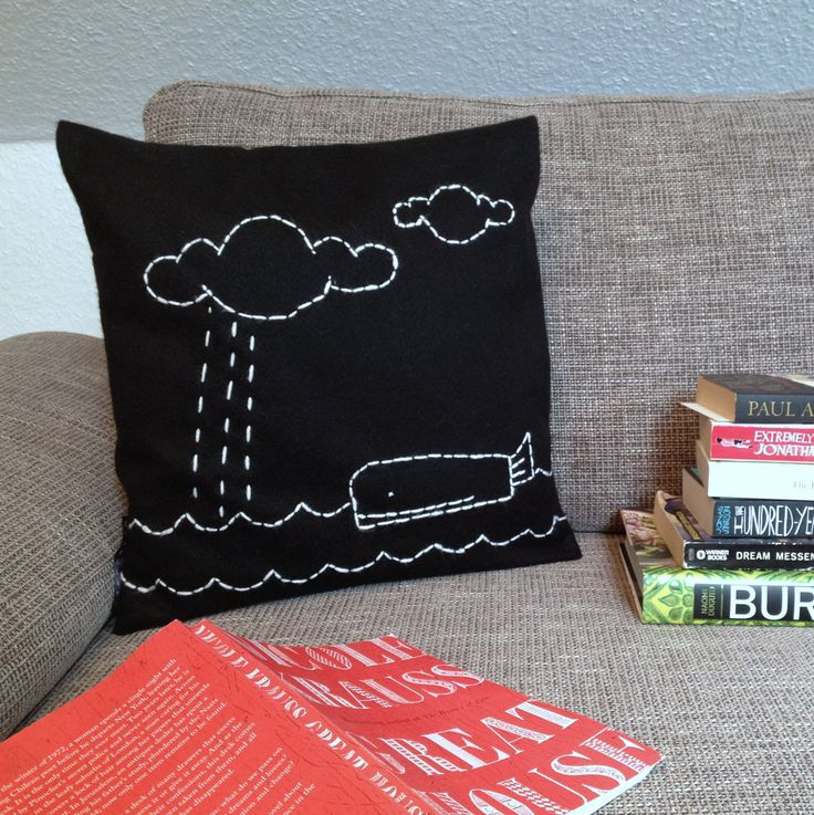 Small Throw Pillow Cases : Throw Pillow Case - Whale Story - Embroidered Motive - Black Felt and White Embroidery - small ...