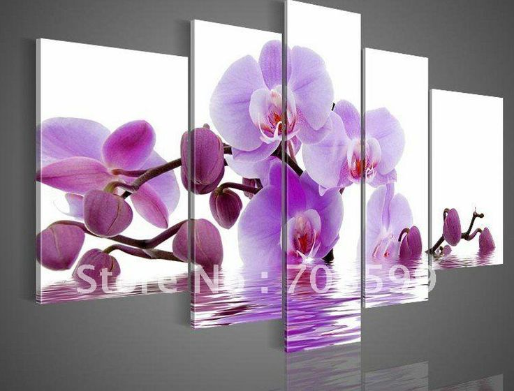 hand-painted oil wall art Purple flowers water side home decoration abstract Landscape oil painting on canvas 5pcs/set mixorde(China (Mainla...
