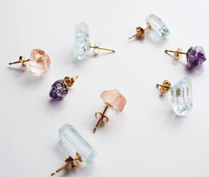 gem earrings: