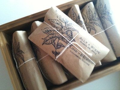 Overnight Guest Bag Coffee Wedding Favors, Party Favors Set of 10 Freshly Roasted to Order by Apropos Roasters. $25.00, via Etsy.