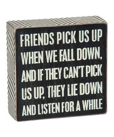 Black 'Friends Pick Us Up' Box Sign #zulily #zulilyfinds