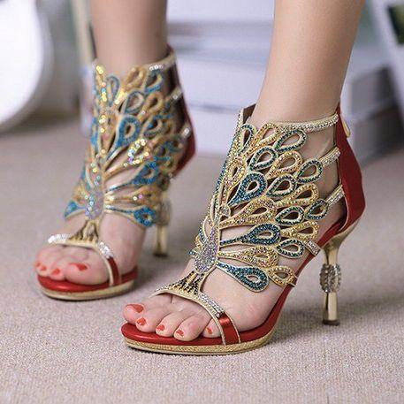 2013 pepper show star models fll rhinestone sandals luxury diamond shoes crystal wedding shoes red high heels-ZZKKO