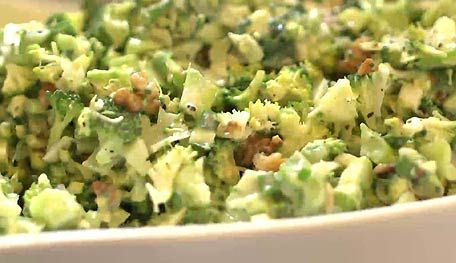 I love to grow broccoli and we grow lots at the farm. This raw broccoli salad or slaw is one of my favorite ways to prepare it.