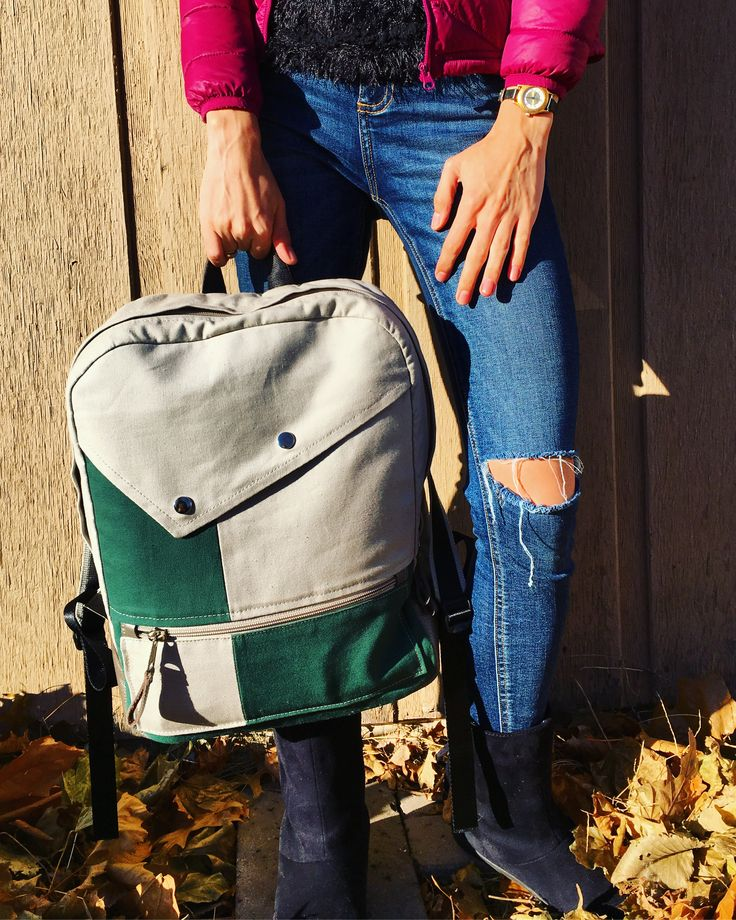#backpack #sewing #pattern #leatherwork #canvas #fabric #green #grey