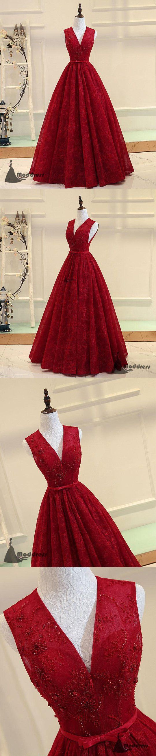 V-Neck Long Prom Dress Lace Sleeveless Evening Dress A-line Formal Dress,HS498 #fashion#promdress#eveningdress#promgowns#cocktaildress
