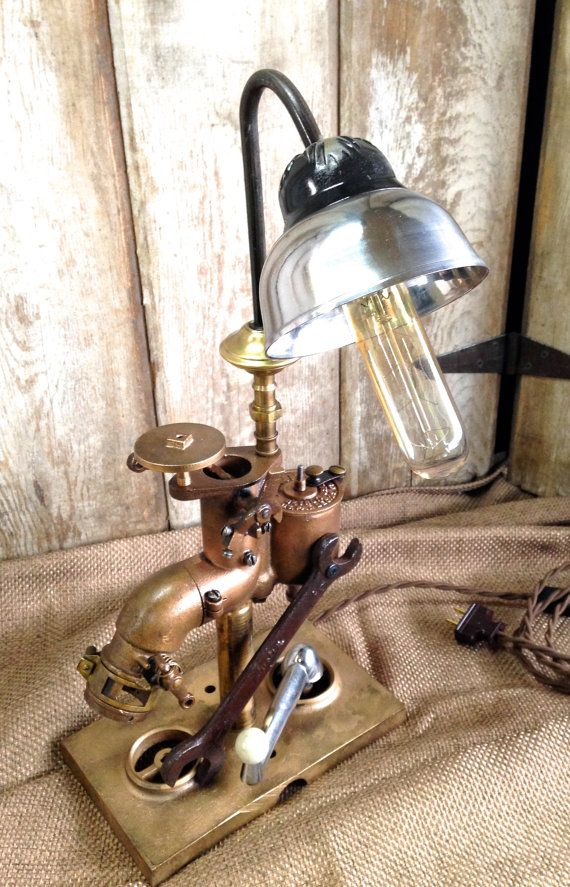 Vintage Industrial Style Table Lamp, Long Tube Light, Edison Bulb, Carburetor Light, Eclectic Lamp, Steampunk Lighting