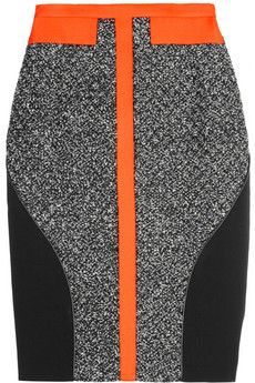 Love the shock of neon orange against the gray and black    Antonio Berardi  Leather-trimmed bouclé and crepe skirt