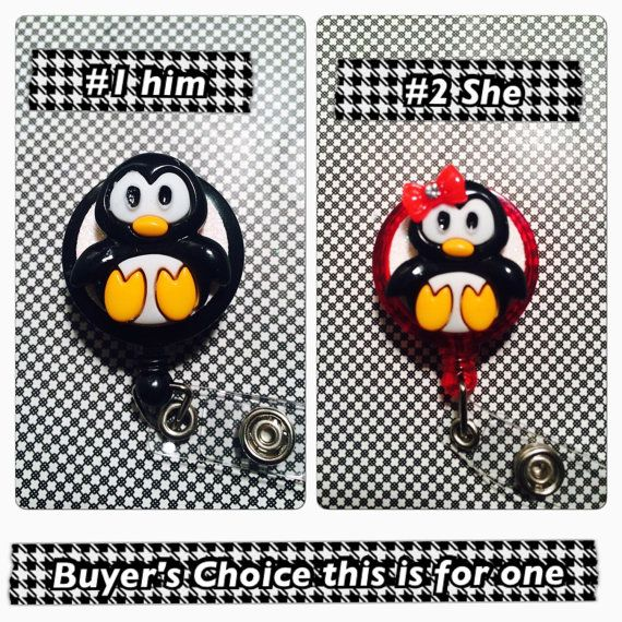 Retractable ID badge Reel Penguin by BadgeButton on Etsy