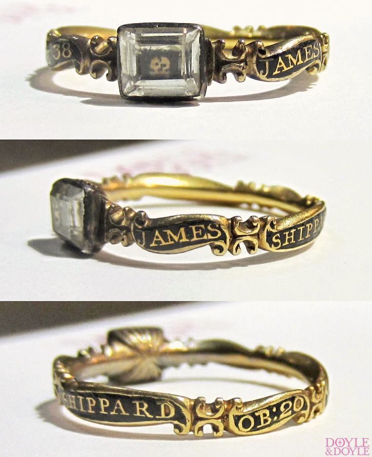 I've never seen anything like the stylized gold skull! Georgian memento mori rock crystal and enamel mourning ring. Inscription dates it to 1735, from Doyle & Doyle.
