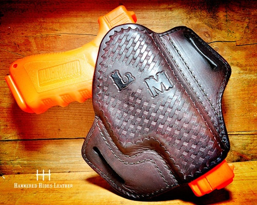 Glock 26 Leather Pancake Style OTW Holster with Basket Weave tooling and Custom Initials