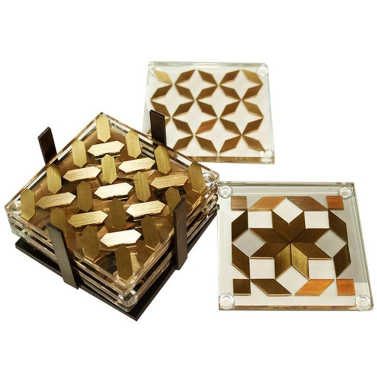 Clear Coaster Set, Contemporary Coaster Set with Brass Inlay