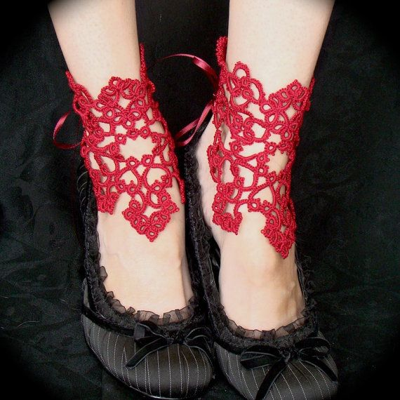 Tatted Lace Ankle Corsets  Victorious Red by TotusMel on Etsy,
