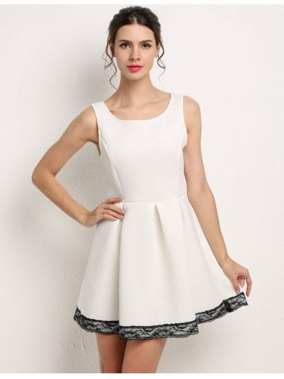 White Round Party Patchwork Dresses