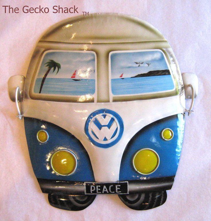 VW Kombi Van BLUE Volkswagen Peace Metal Art Wall Decor for Beach HolidayTheme
