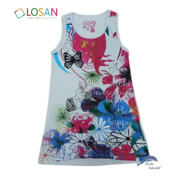 Vestido de niña juvenil LOSAN de tirantes con serigrafia de flores