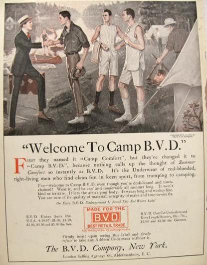 vintage under garment ads | 1915 BVD Underwear Ad ~ Men Go Camping, Vintage Magazine Ads