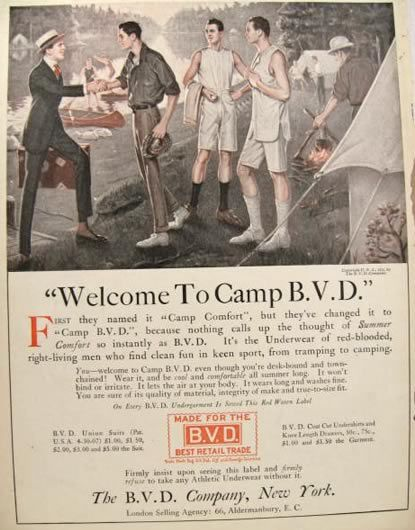 vintage under garment ads | 1915 BVD Underwear Ad ~ Men Go Camping, Vintage Magazine Ads