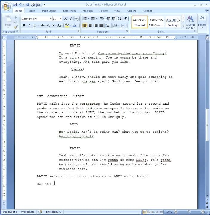 writing a screenplay template formatting