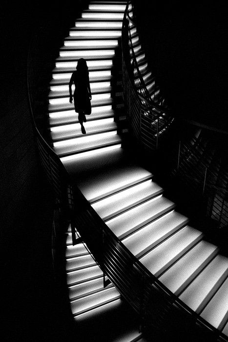 Staircase By Unknown Photographer (light shadow black white silhouette winding)