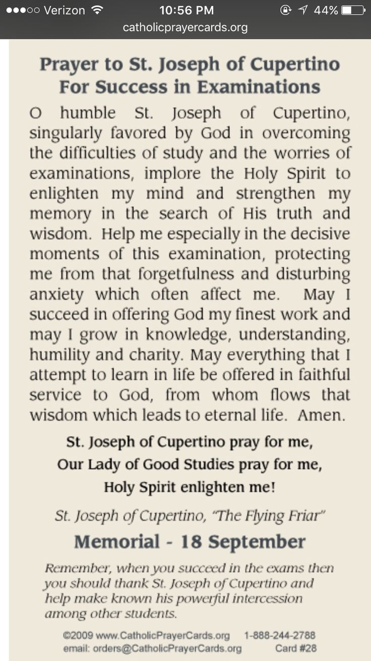 17 best ideas about prayer for students prayer for prayer to st joseph of cupertino to pass tests exams