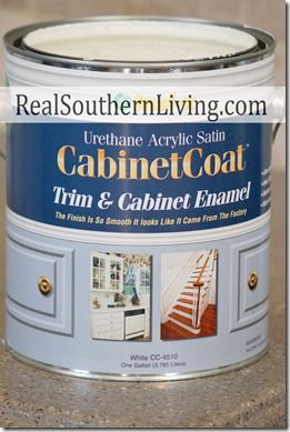 Benjamin Moore Cabinet Coat paint; self-leveling, no brush marks, latex that dries hard like enamel...
