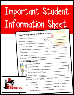 Free important student information sheet to collect vital data about your students on the first day of school - free download from Raki's Rad Resources.