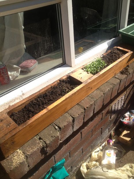 Picture of Window planter made from old pallet. window sill herb garden
