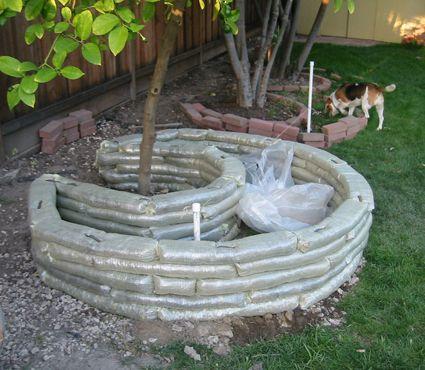 earthbag and hypertufa planters